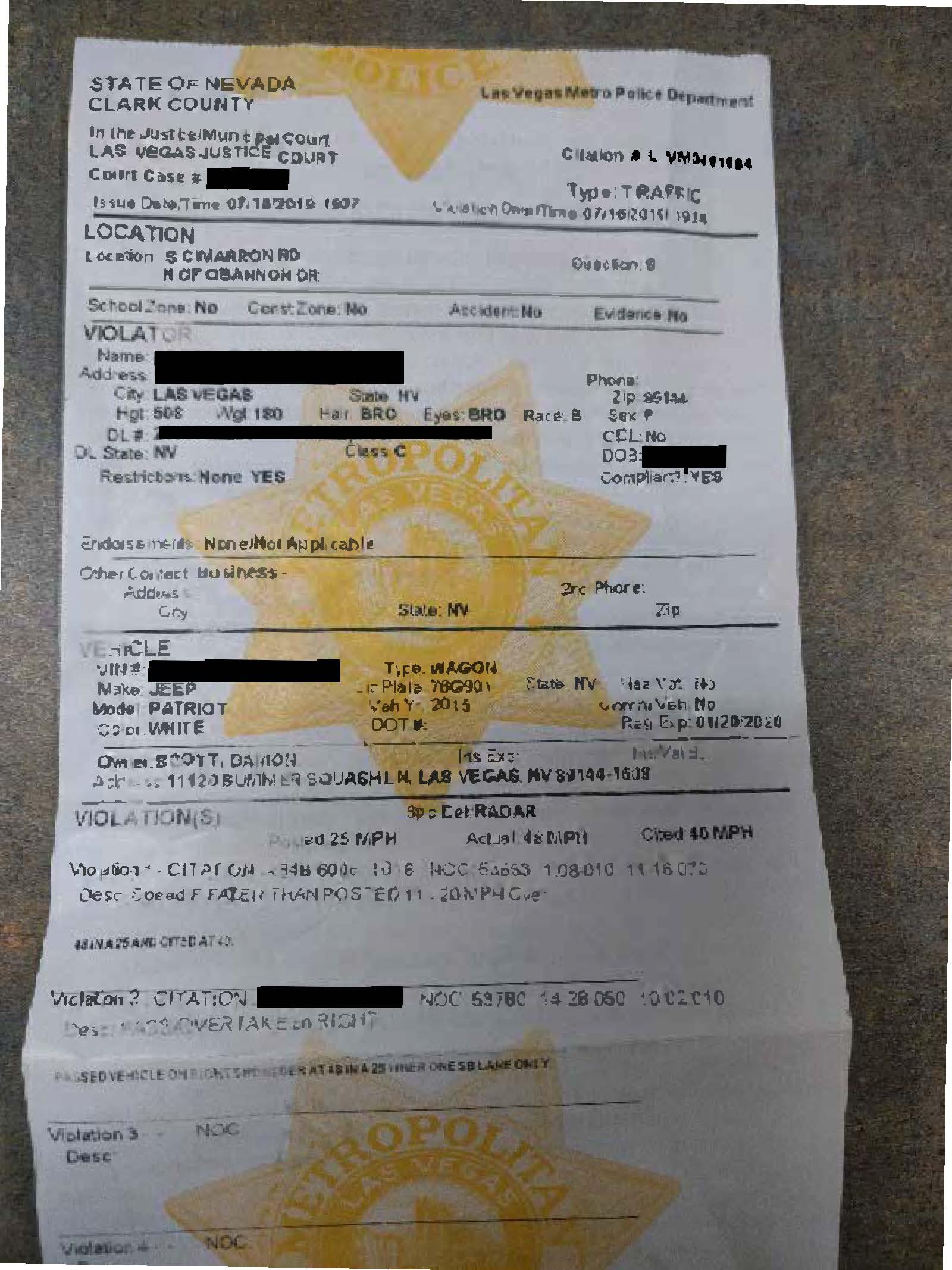Traffic Ticket Lawyer Las Vegas